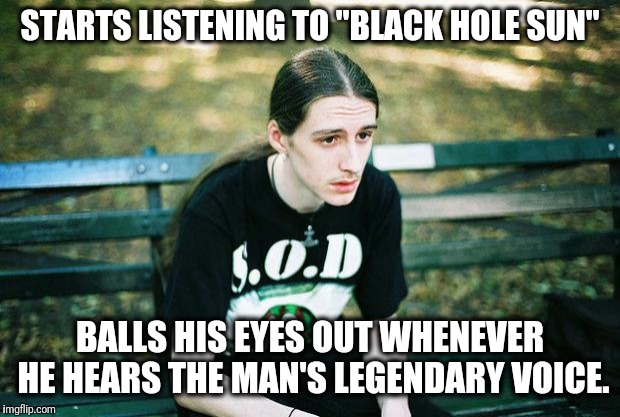"Well shit. Now this for sure is gonna happen every time I listen to Chris. :'( | STARTS LISTENING TO ""BLACK HOLE SUN"" BALLS HIS EYES OUT WHENEVER HE HEARS THE MAN'S LEGENDARY VOICE. 