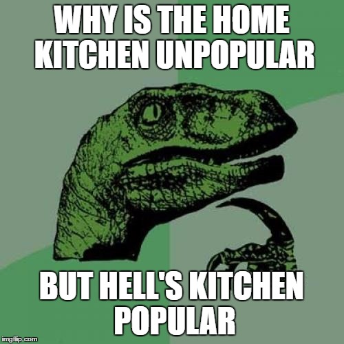 Philosoraptor Meme | WHY IS THE HOME KITCHEN UNPOPULAR BUT HELL'S KITCHEN POPULAR | image tagged in memes,philosoraptor | made w/ Imgflip meme maker