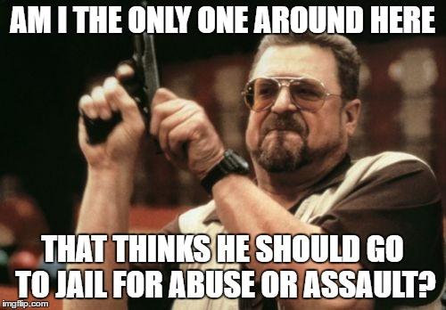 Am I The Only One Around Here Meme | AM I THE ONLY ONE AROUND HERE THAT THINKS HE SHOULD GO TO JAIL FOR ABUSE OR ASSAULT? | image tagged in memes,am i the only one around here | made w/ Imgflip meme maker