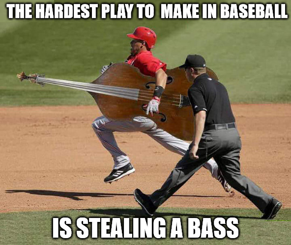 Baseball fans have known this since the game first started | THE HARDEST PLAY TO  MAKE IN BASEBALL IS STEALING A BASS | image tagged in baseball,stealing,memes,bad pun | made w/ Imgflip meme maker