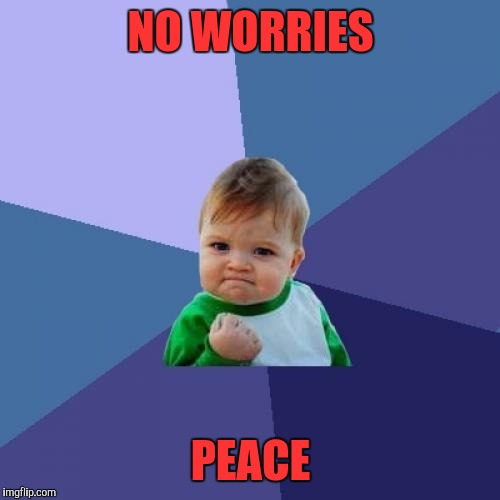 Success Kid Meme | NO WORRIES PEACE | image tagged in memes,success kid | made w/ Imgflip meme maker