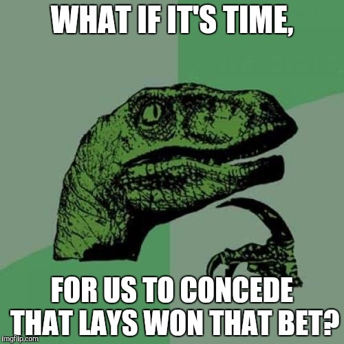 Philosoraptor Meme | WHAT IF IT'S TIME, FOR US TO CONCEDE THAT LAYS WON THAT BET? | image tagged in memes,philosoraptor | made w/ Imgflip meme maker