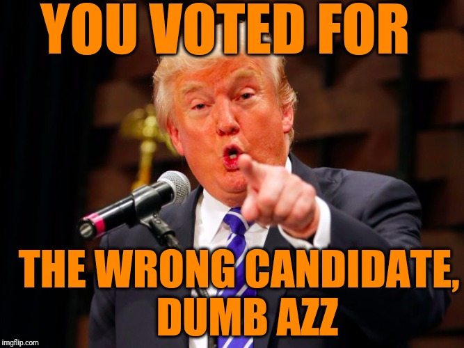 trump point | YOU VOTED FOR THE WRONG CANDIDATE,  DUMB AZZ | image tagged in trump point | made w/ Imgflip meme maker