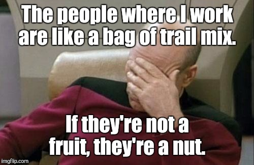 Captain Picard Facepalm Meme | The people where I work are like a bag of trail mix. If they're not a fruit, they're a nut. | image tagged in memes,captain picard facepalm | made w/ Imgflip meme maker