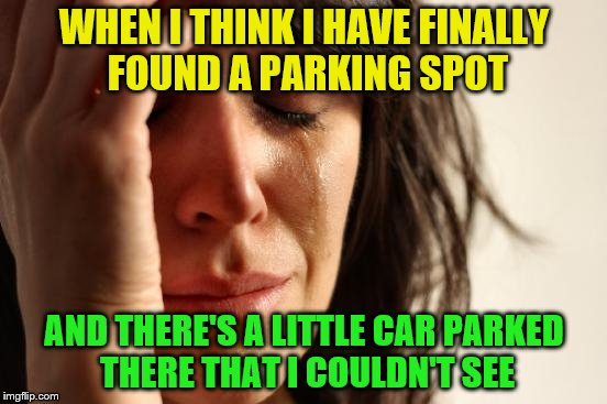 Maybe if they wouldn't pull in quite as much, but....... | WHEN I THINK I HAVE FINALLY FOUND A PARKING SPOT AND THERE'S A LITTLE CAR PARKED THERE THAT I COULDN'T SEE | image tagged in memes,first world problems | made w/ Imgflip meme maker