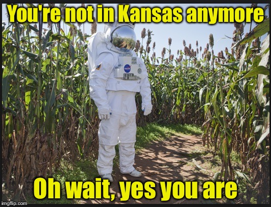 Meanwhile, back in Kansas | You're not in Kansas anymore Oh wait, yes you are | image tagged in wrong job,kansas,astronaut | made w/ Imgflip meme maker