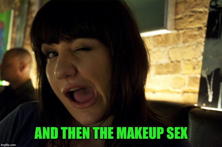 Wink | AND THEN THE MAKEUP SEX | image tagged in wink | made w/ Imgflip meme maker
