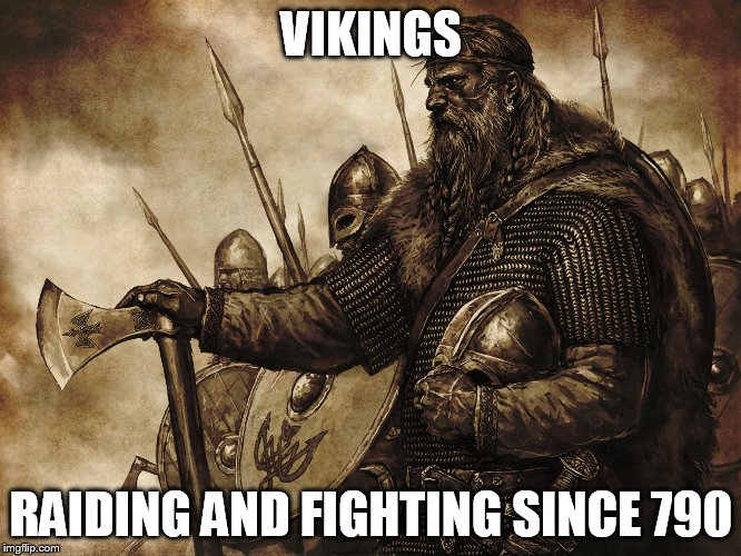 Vikings |  VIKINGS; RAIDING AND FIGHTING SINCE 790 | image tagged in vikings no police force necessary,viking,vikings,raiding,fighting,barbarian | made w/ Imgflip meme maker