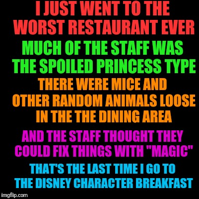 Blank | I JUST WENT TO THE WORST RESTAURANT EVER THAT'S THE LAST TIME I GO TO THE DISNEY CHARACTER BREAKFAST MUCH OF THE STAFF WAS THE SPOILED PRINC | image tagged in blank | made w/ Imgflip meme maker