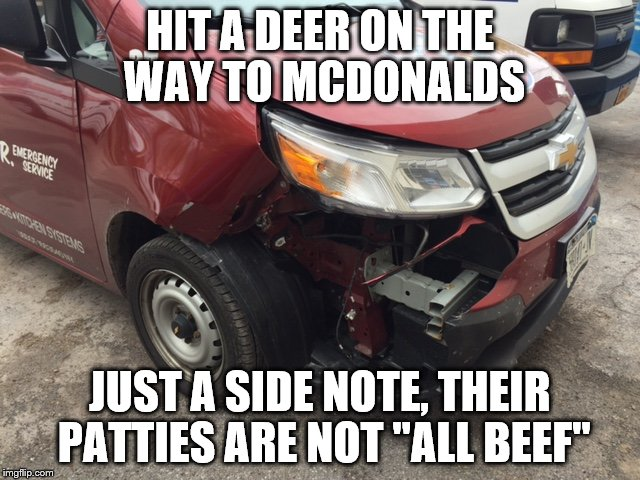 "HIT A DEER ON THE WAY TO MCDONALDS JUST A SIDE NOTE, THEIR PATTIES ARE NOT ""ALL BEEF"" 