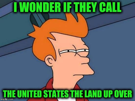 Futurama Fry Meme | I WONDER IF THEY CALL THE UNITED STATES THE LAND UP OVER | image tagged in memes,futurama fry | made w/ Imgflip meme maker