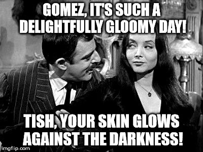 GOMEZ, IT'S SUCH A DELIGHTFULLY GLOOMY DAY! TISH, YOUR SKIN GLOWS AGAINST THE DARKNESS! | image tagged in addams family | made w/ Imgflip meme maker