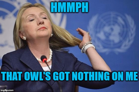 Hillary | HMMPH THAT OWL'S GOT NOTHING ON ME | image tagged in hillary | made w/ Imgflip meme maker