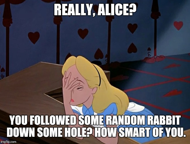 Go ask Alice when she's 10 feet tall... and 25 years old | REALLY, ALICE? YOU FOLLOWED SOME RANDOM RABBIT DOWN SOME HOLE? HOW SMART OF YOU. | image tagged in alice in wonderland face palm facepalm | made w/ Imgflip meme maker
