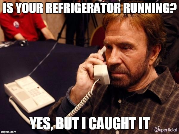 Chuck Norris Phone Meme | IS YOUR REFRIGERATOR RUNNING? YES, BUT I CAUGHT IT | image tagged in memes,chuck norris phone,chuck norris | made w/ Imgflip meme maker