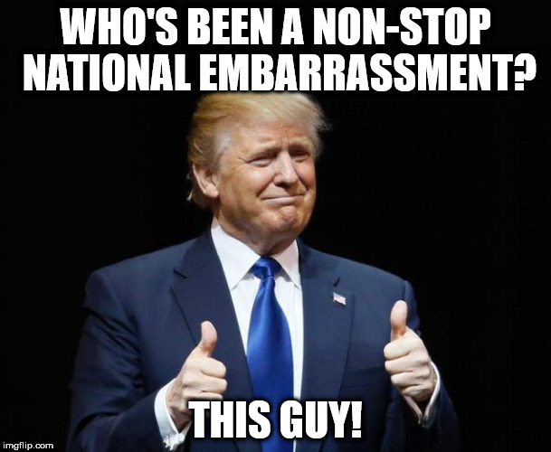 This guy | WHO'S BEEN A NON-STOP NATIONAL EMBARRASSMENT? THIS GUY! | image tagged in donald trump,thumbs up | made w/ Imgflip meme maker
