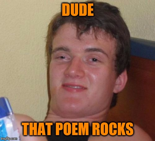 10 Guy Meme | DUDE THAT POEM ROCKS | image tagged in memes,10 guy | made w/ Imgflip meme maker