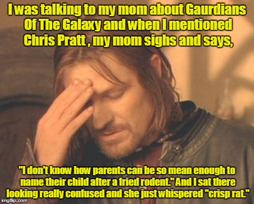 "Frustrated Boromir Meme | I was talking to my mom about Gaurdians Of The Galaxy and when I mentioned Chris Pratt , my mom sighs and says, ""I don't know how parents ca 