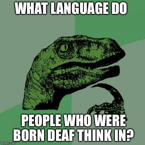 Philosoraptor Meme | WHAT LANGUAGE DO PEOPLE WHO WERE BORN DEAF THINK IN? | image tagged in memes,philosoraptor | made w/ Imgflip meme maker