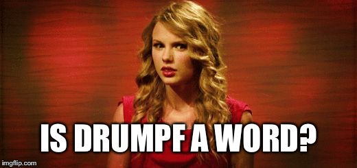 Confused Taylor Swift | IS DRUMPF A WORD? | image tagged in confused taylor swift | made w/ Imgflip meme maker