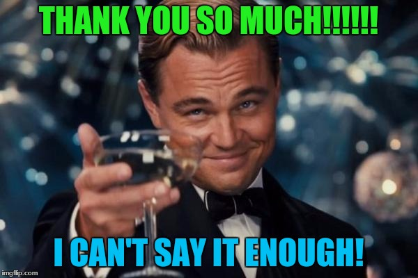 Leonardo Dicaprio Cheers Meme | THANK YOU SO MUCH!!!!!! I CAN'T SAY IT ENOUGH! | image tagged in memes,leonardo dicaprio cheers | made w/ Imgflip meme maker