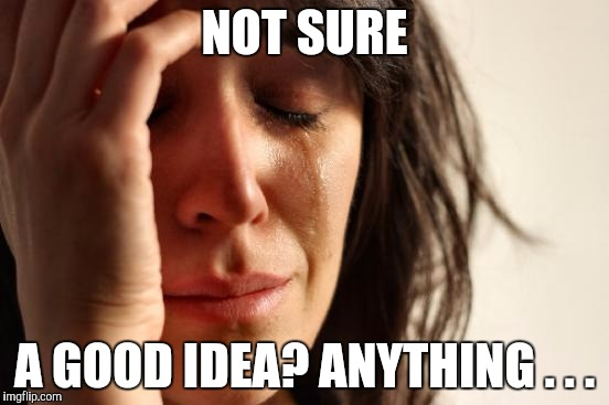 First World Problems Meme | NOT SURE A GOOD IDEA? ANYTHING . . . | image tagged in memes,first world problems | made w/ Imgflip meme maker
