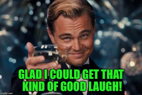 Leonardo Dicaprio Cheers Meme | GLAD I COULD GET THAT KIND OF GOOD LAUGH! | image tagged in memes,leonardo dicaprio cheers | made w/ Imgflip meme maker