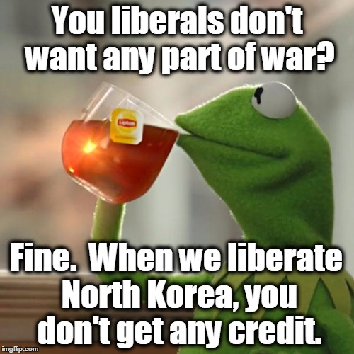 But Thats None Of My Business Meme | You liberals don't want any part of war? Fine.  When we liberate North Korea, you don't get any credit. | image tagged in memes,but thats none of my business,kermit the frog,north korea,kim jong un | made w/ Imgflip meme maker
