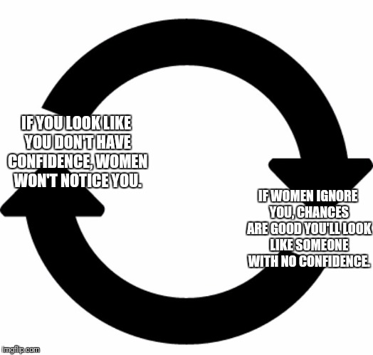 And on and on... | IF YOU LOOK LIKE YOU DON'T HAVE CONFIDENCE, WOMEN WON'T NOTICE YOU. IF WOMEN IGNORE YOU, CHANCES ARE GOOD YOU'LL LOOK LIKE SOMEONE WITH NO C | image tagged in circular logic,memes | made w/ Imgflip meme maker