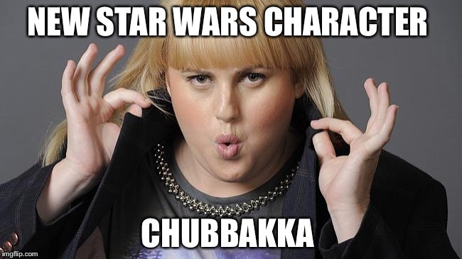 Rebel Wilson | NEW STAR WARS CHARACTER CHUBBAKKA | image tagged in rebel wilson | made w/ Imgflip meme maker