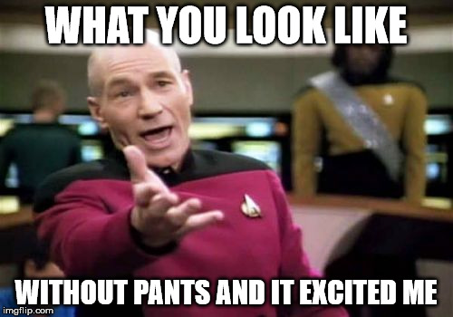 Picard Wtf Meme | WHAT YOU LOOK LIKE WITHOUT PANTS AND IT EXCITED ME | image tagged in memes,picard wtf | made w/ Imgflip meme maker