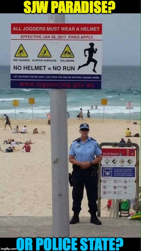 Snowflake Beach | SJW PARADISE? OR POLICE STATE? | image tagged in police state,sjws,snowflake,weird laws | made w/ Imgflip meme maker