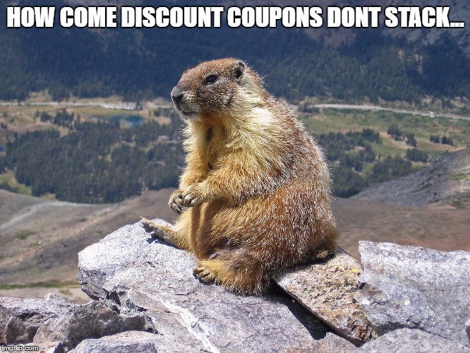 Its basic math people | HOW COME DISCOUNT COUPONS DONT STACK... | image tagged in thinkinggroundhog,memes,mems,funny,math,discounts | made w/ Imgflip meme maker