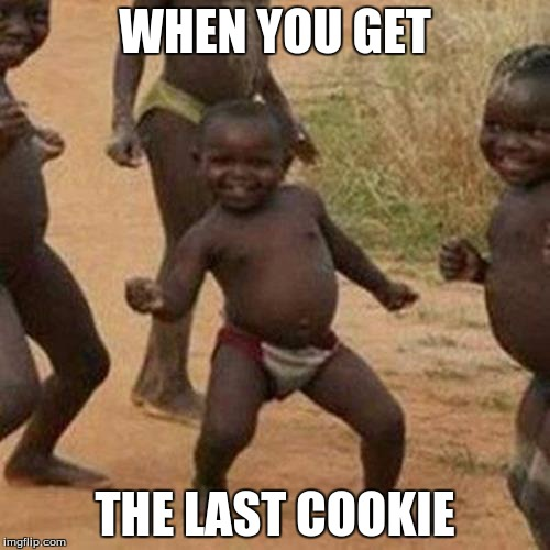 Third World Success Kid Meme | WHEN YOU GET THE LAST COOKIE | image tagged in memes,third world success kid | made w/ Imgflip meme maker