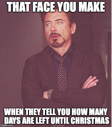 Face You Make Robert Downey Jr Meme | THAT FACE YOU MAKE WHEN THEY TELL YOU HOW MANY DAYS ARE LEFT UNTIL CHRISTMAS | image tagged in memes,face you make robert downey jr | made w/ Imgflip meme maker