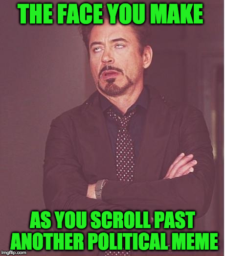 Face You Make Robert Downey Jr Meme | THE FACE YOU MAKE AS YOU SCROLL PAST ANOTHER POLITICAL MEME | image tagged in memes,face you make robert downey jr | made w/ Imgflip meme maker