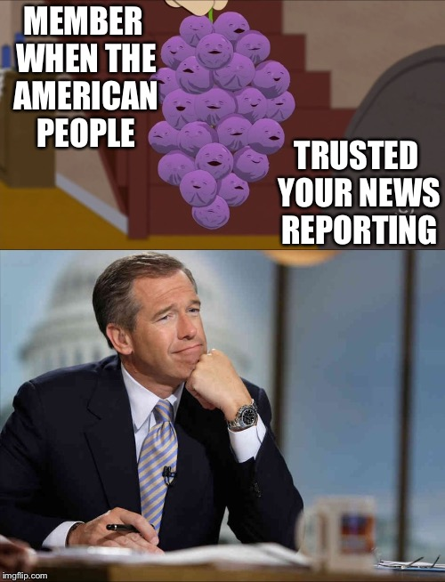 MEMBER WHEN THE AMERICAN PEOPLE TRUSTED YOUR NEWS REPORTING | image tagged in news | made w/ Imgflip meme maker