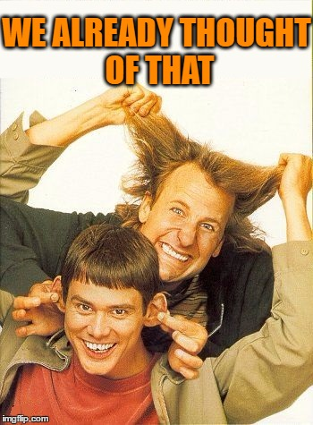DUMB and dumber | WE ALREADY THOUGHT OF THAT | image tagged in dumb and dumber | made w/ Imgflip meme maker