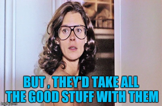 Jobeth Williams | BUT , THEY'D TAKE ALL THE GOOD STUFF WITH THEM | image tagged in jobeth williams | made w/ Imgflip meme maker