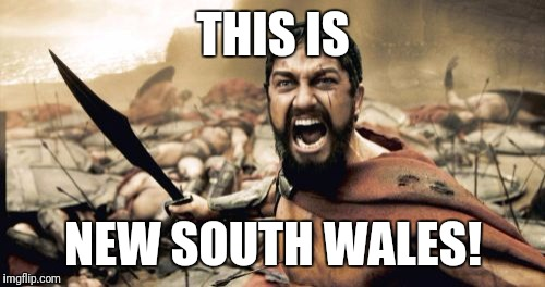 Sparta Leonidas Meme | THIS IS NEW SOUTH WALES! | image tagged in memes,sparta leonidas | made w/ Imgflip meme maker