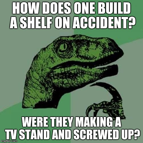 Guess that's the only logical guess but... | HOW DOES ONE BUILD A SHELF ON ACCIDENT? WERE THEY MAKING A TV STAND AND SCREWED UP? | image tagged in memes,philosoraptor | made w/ Imgflip meme maker