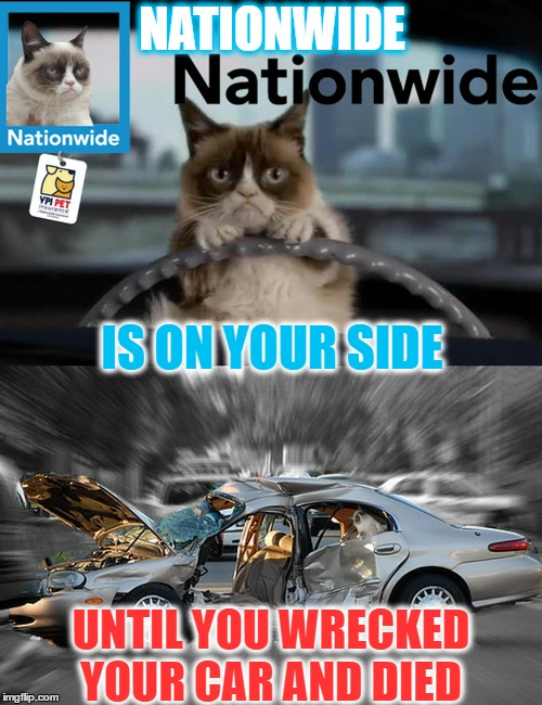 Hi it's Grumpy Cat your car/life/home insurance agent  | IS ON YOUR SIDE UNTIL YOU WRECKED YOUR CAR AND DIED NATIONWIDE | image tagged in grumpy cat,nationwide,car insurance,memes,funny | made w/ Imgflip meme maker