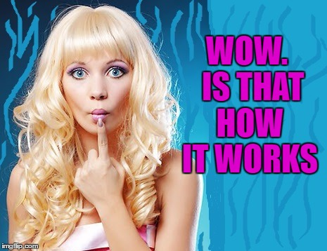 ditzy blonde | WOW.  IS THAT HOW IT WORKS | image tagged in ditzy blonde | made w/ Imgflip meme maker