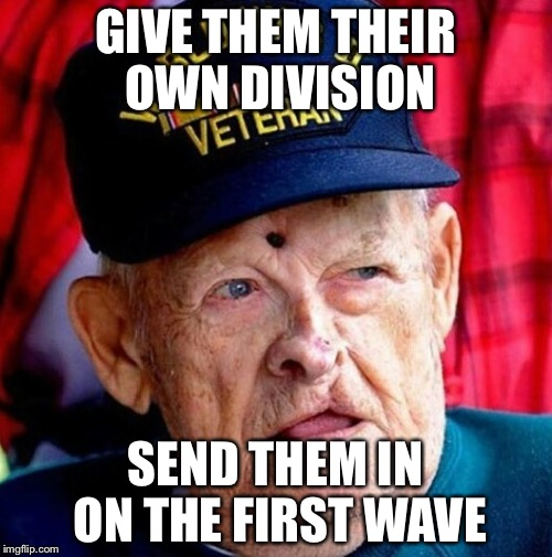 GIVE THEM THEIR OWN DIVISION SEND THEM IN ON THE FIRST WAVE | image tagged in ww2 | made w/ Imgflip meme maker