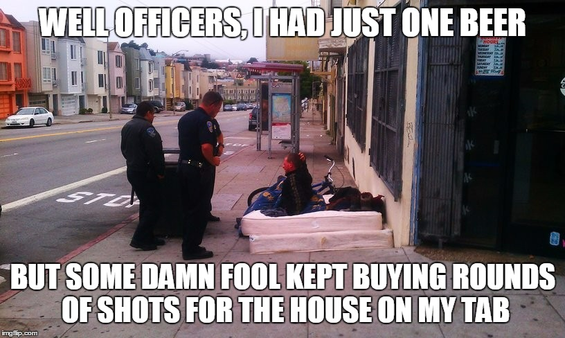 WELL OFFICERS, I HAD JUST ONE BEER BUT SOME DAMN FOOL KEPT BUYING ROUNDS OF SHOTS FOR THE HOUSE ON MY TAB | made w/ Imgflip meme maker