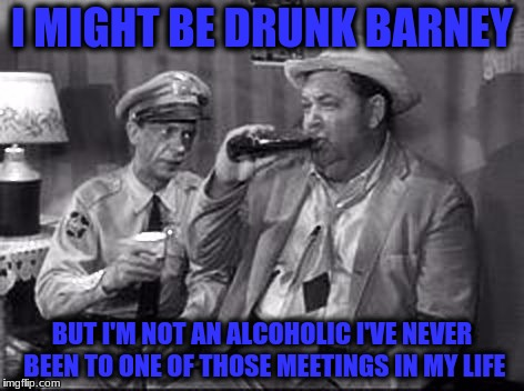 I MIGHT BE DRUNK BARNEY BUT I'M NOT AN ALCOHOLIC I'VE NEVER BEEN TO ONE OF THOSE MEETINGS IN MY LIFE | made w/ Imgflip meme maker