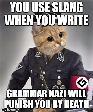 Grammar Nazi Cat | YOU USE SLANG WHEN YOU WRITE GRAMMAR NAZI WILL PUNISH YOU BY DEATH | image tagged in grammar nazi cat,funny,memes,meme,funny memes | made w/ Imgflip meme maker