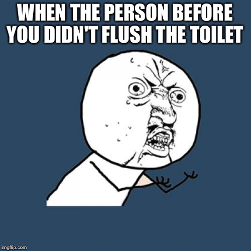 Y U No Meme | WHEN THE PERSON BEFORE YOU DIDN'T FLUSH THE TOILET | image tagged in memes,y u no | made w/ Imgflip meme maker