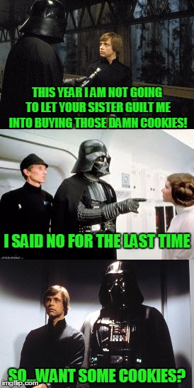 Wouldn't be so bad if it were thin mints | THIS YEAR I AM NOT GOING TO LET YOUR SISTER GUILT ME INTO BUYING THOSE DAMN COOKIES! SO...WANT SOME COOKIES? I SAID NO FOR THE LAST TIME | image tagged in star wars,stupid humor | made w/ Imgflip meme maker