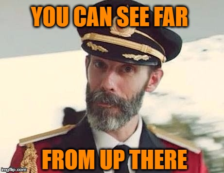 Captain Obvious | YOU CAN SEE FAR FROM UP THERE | image tagged in captain obvious | made w/ Imgflip meme maker